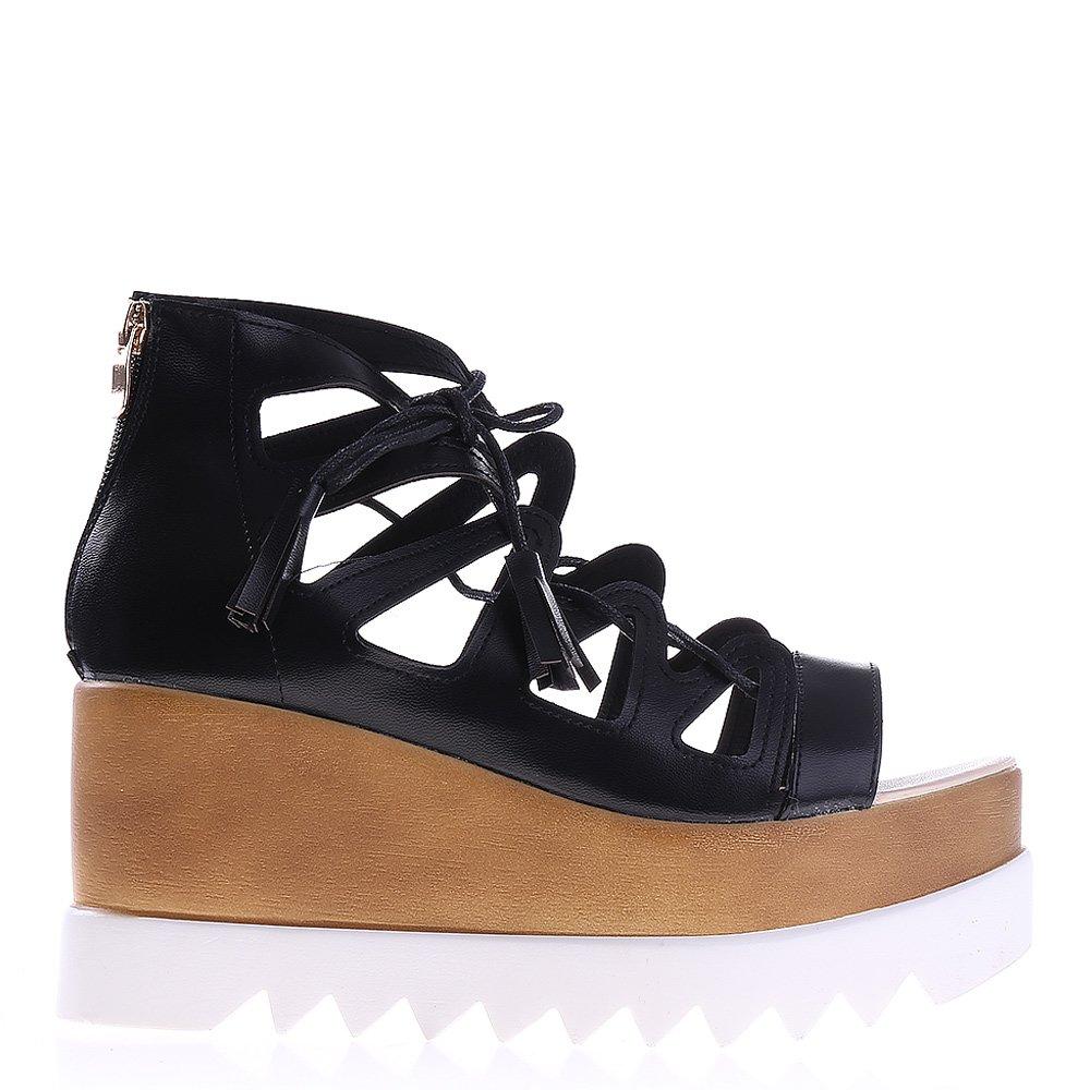 Sandale Dama Cu Platforma Fr61 Negre