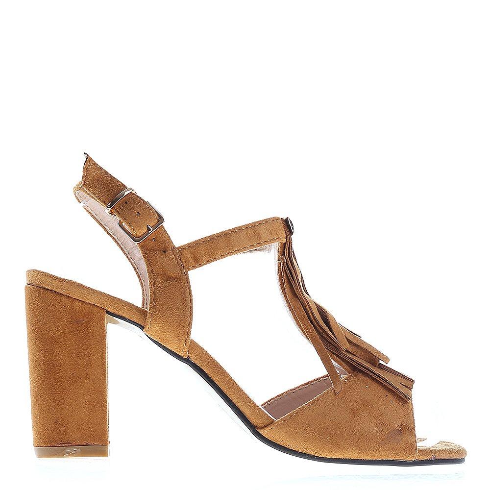 Sandale dama cu toc Viola camel