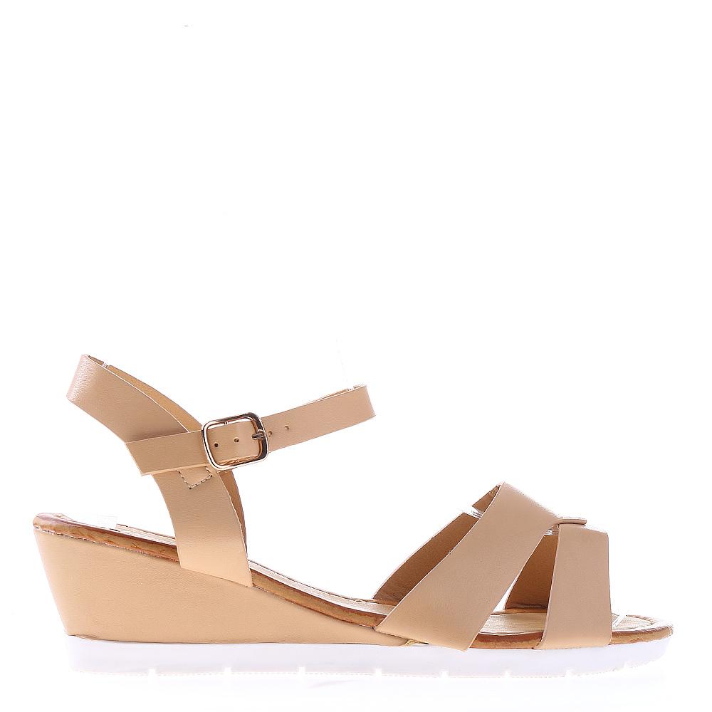 Sandale Dama Cu Platforma Jeraldine Bej