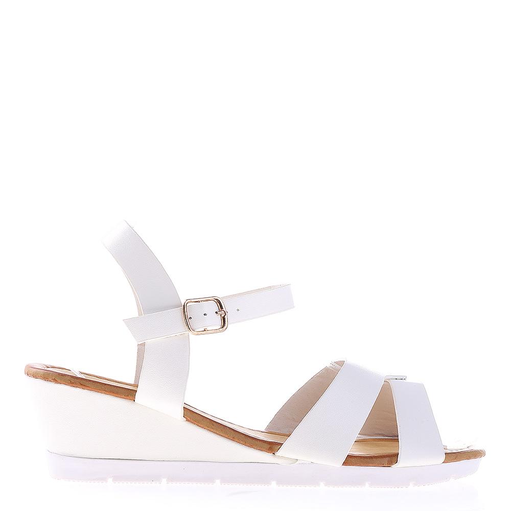 Sandale dama cu platforma Jeraldine albe