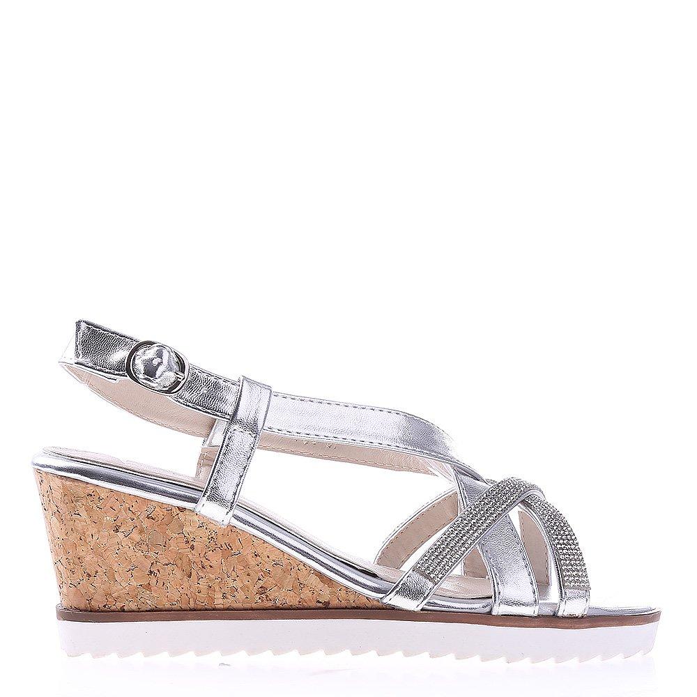 Sandale dama cu platforma K55 argintii
