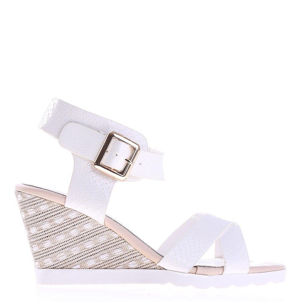 Sandale dama cu platforma Judy albe