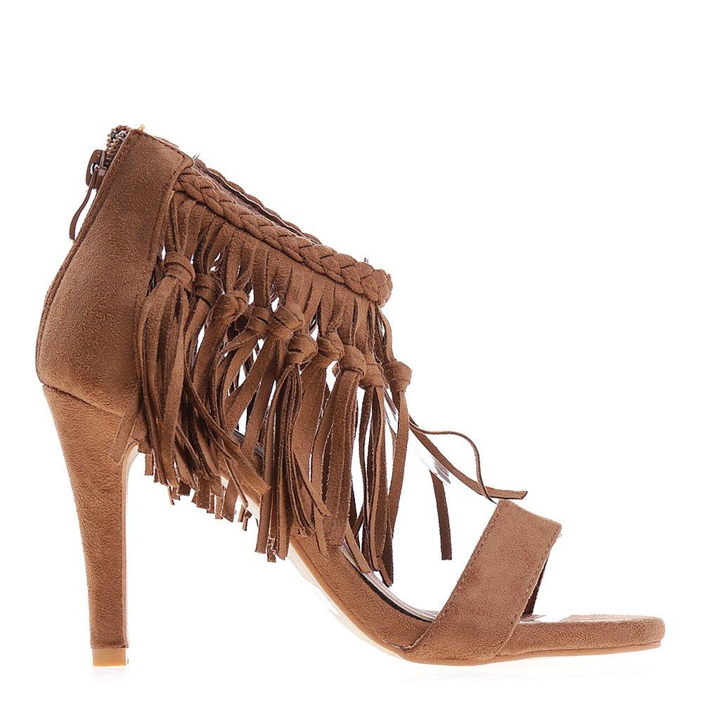 Sandale dama cu toc Romilda maro