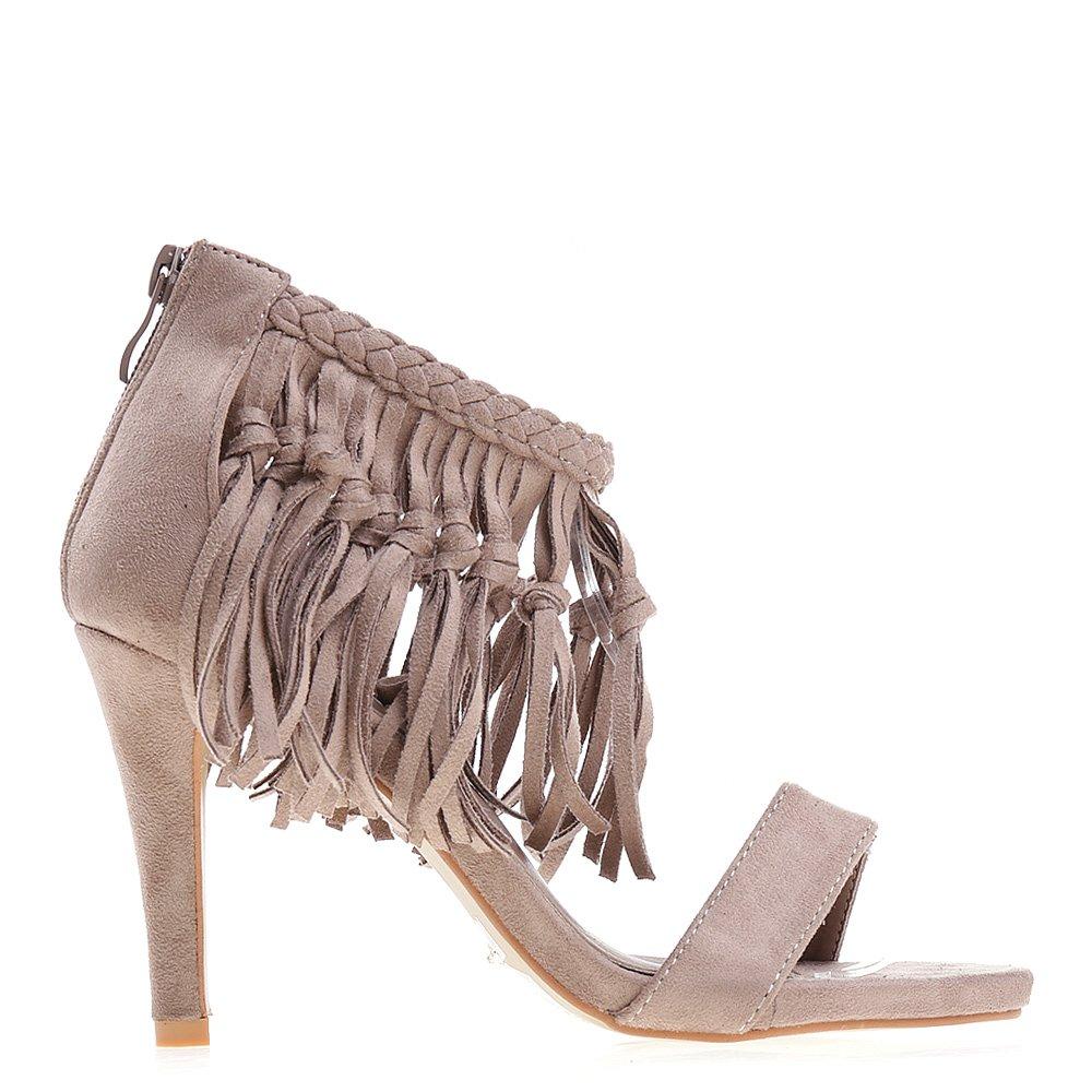 Sandale dama cu toc Romilda khaki