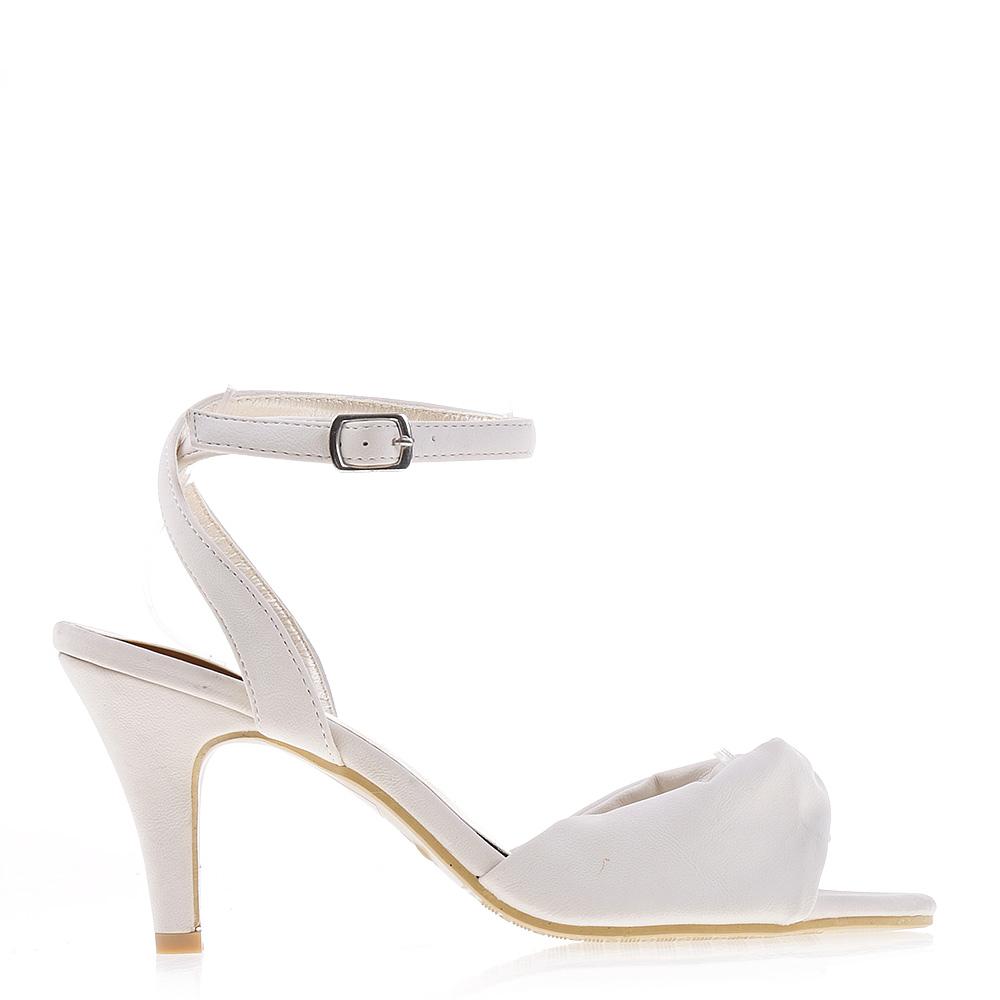 Sandale Dama Cu Toc H029 Albe