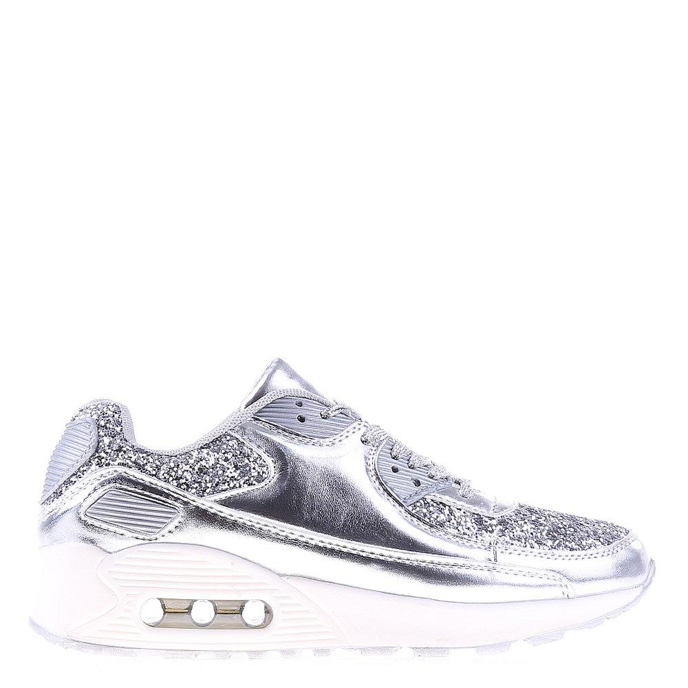 Pantofi sport dama Lewis argintii cu alb