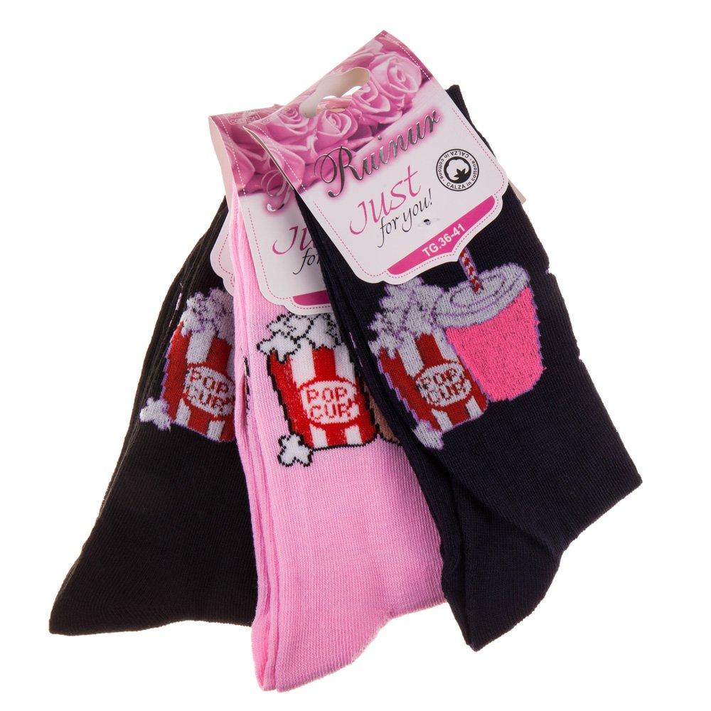 Set 3 perechi sosete dama F1007 navy, roz si negre marimi universale 36-41