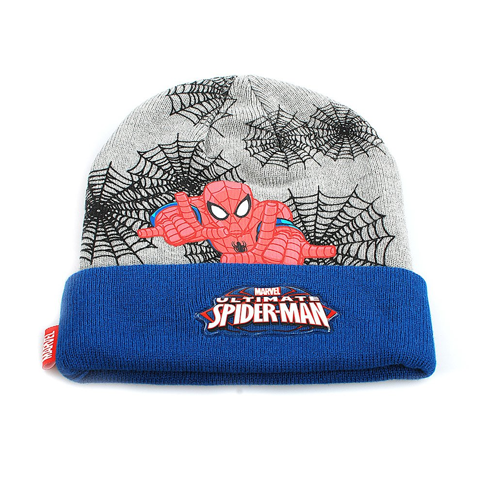 Set caciula cu fular Spiderman by Marvel albastru cu gri
