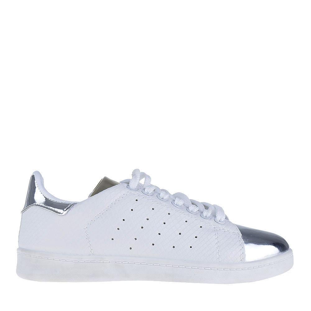 Pantofi sport dama Christy albi cu argintiu
